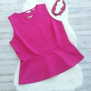 New York & Company Pink Peplum Keyhole Dress Top